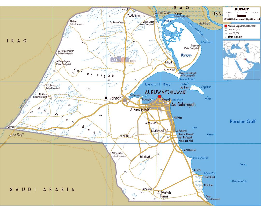 Large road map of Kuwait with cities and airports