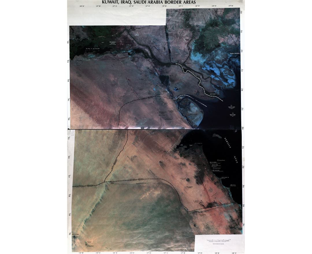 Large scale detailed satellite map of Kuwait, Iraq and Saudi Arabia border areas - 2003