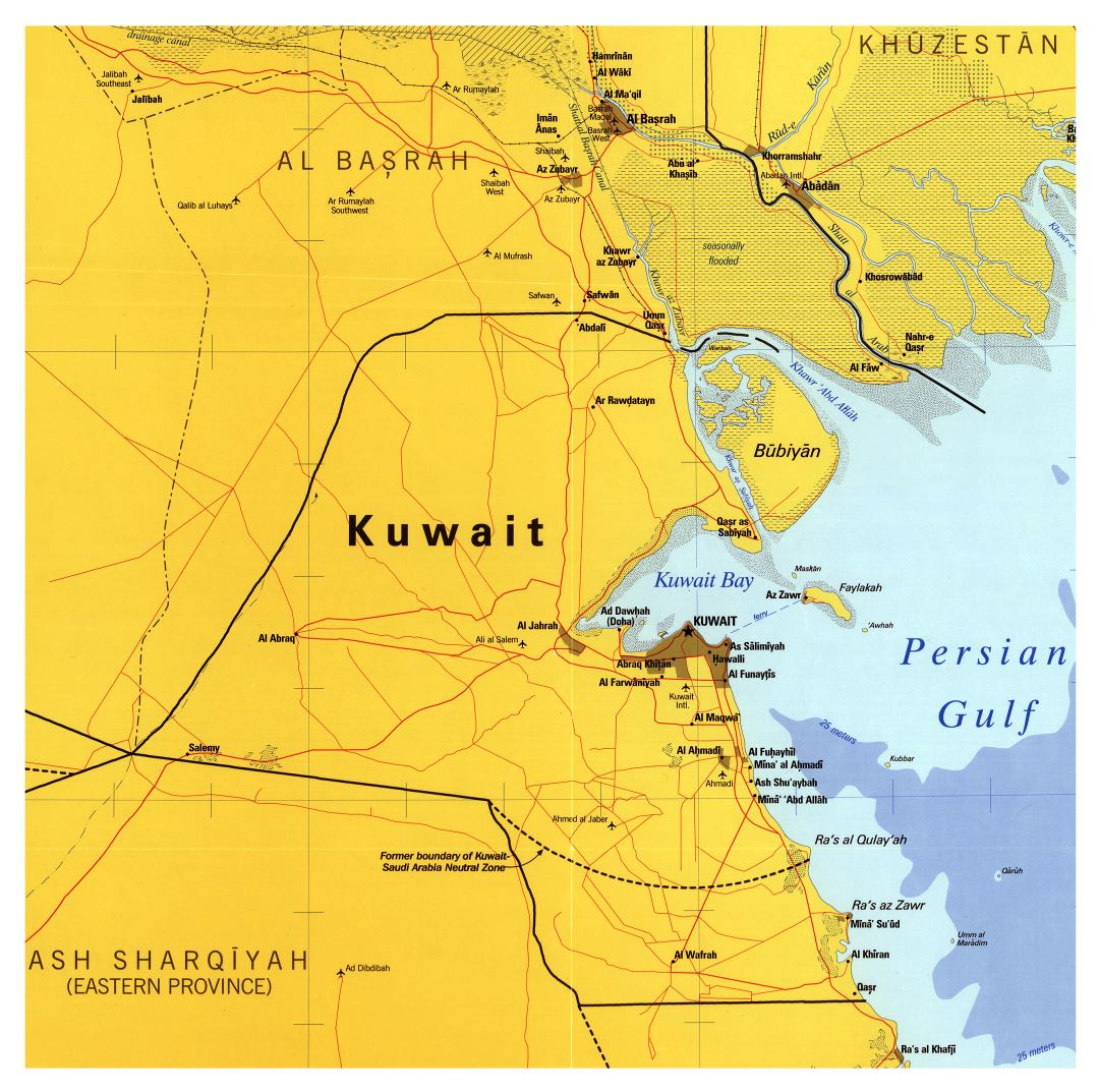Large scale map of Kuwait with roads, cities and airports