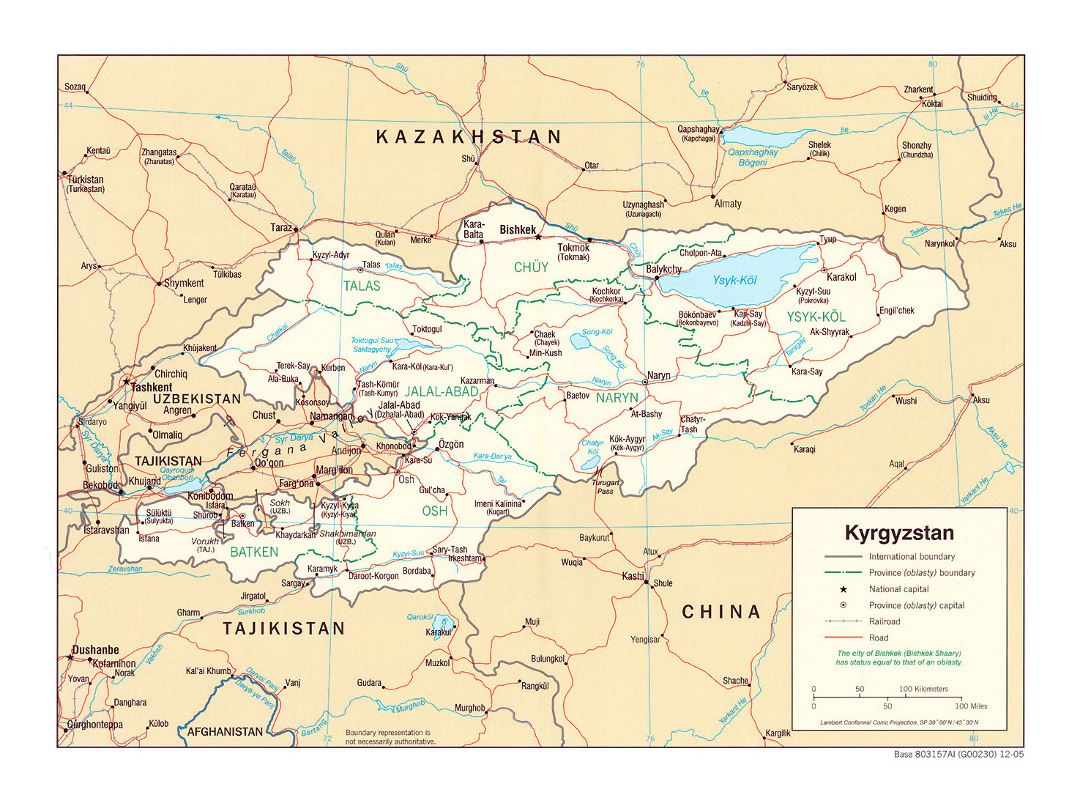 Detailed political and administrative map of Kyrgyzstan with roads, railroads and major cities - 2005