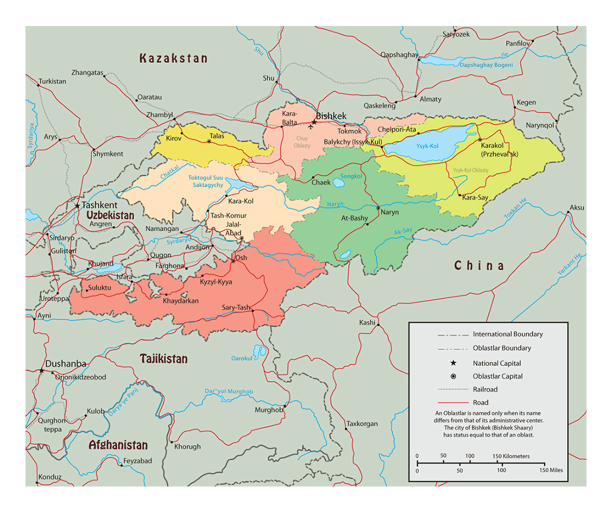 Detailed political and administrative map of Kyrgyzstan with roads