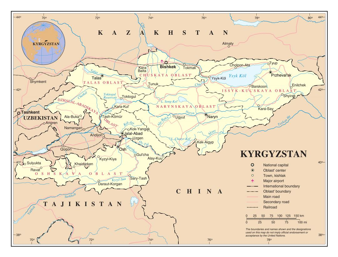 Large detailed political and administrative map of Kyrgyzstan with roads, railroads, cities and airports