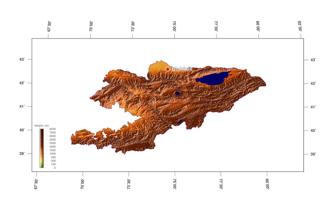 Large elevation map of Kyrgyzstan