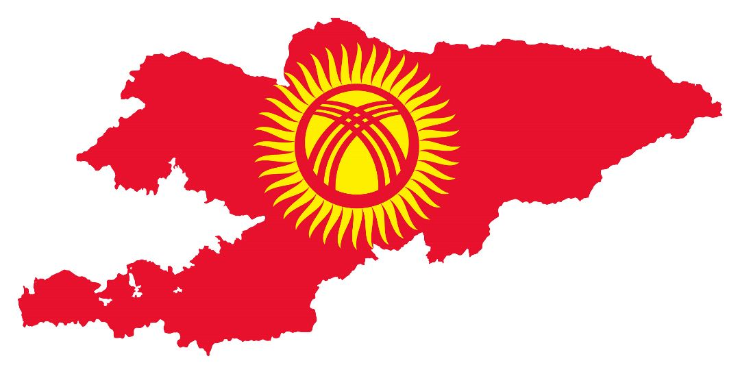 Large flag map of Kyrgyzstan