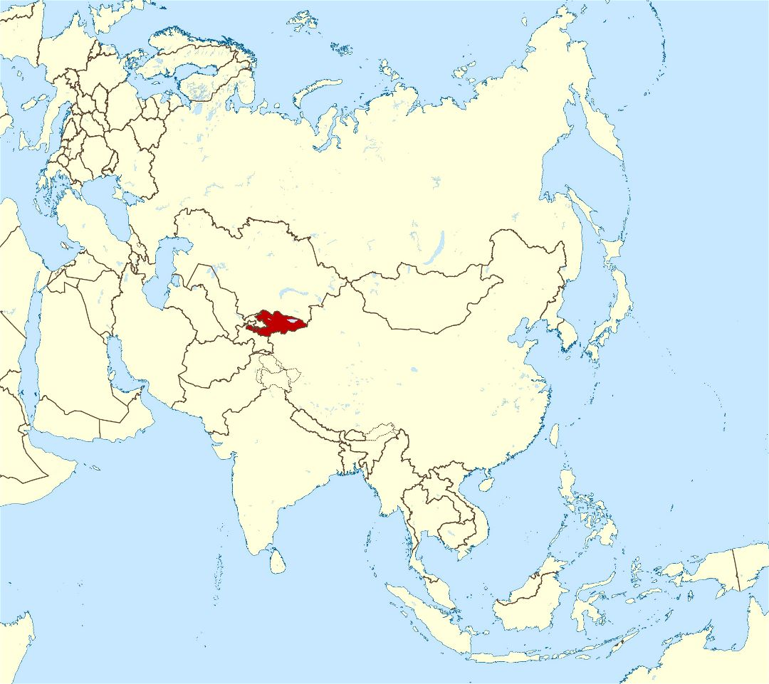 Large location map of Kyrgyzstan in Asia