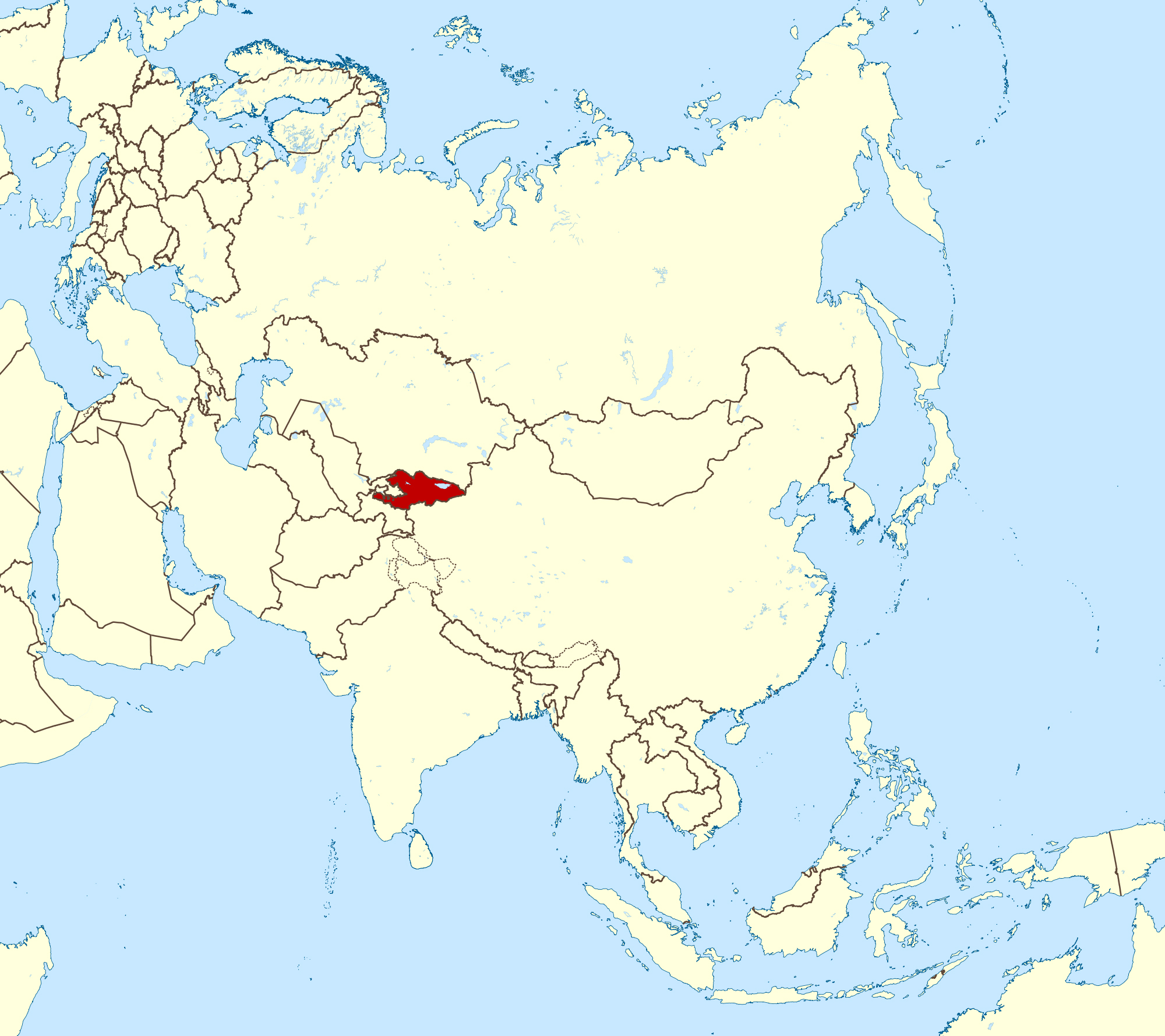 Large location map of kyrgyzstan in asia kyrgyzstan asia large location map of kyrgyzstan in asia gumiabroncs Choice Image