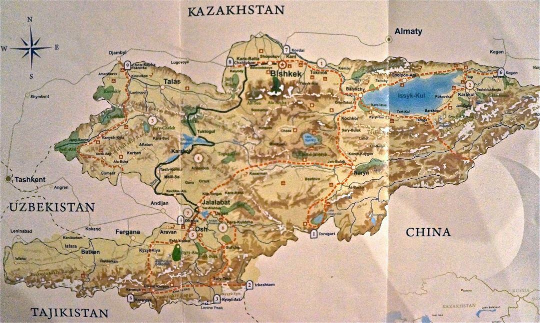Large map of Kyrgyzstan