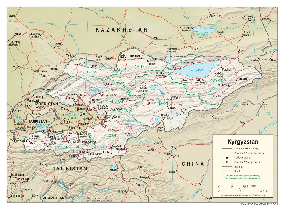 Large political and administrative map of Kyrgyzstan with relief, roads, railroads and major cities - 2005