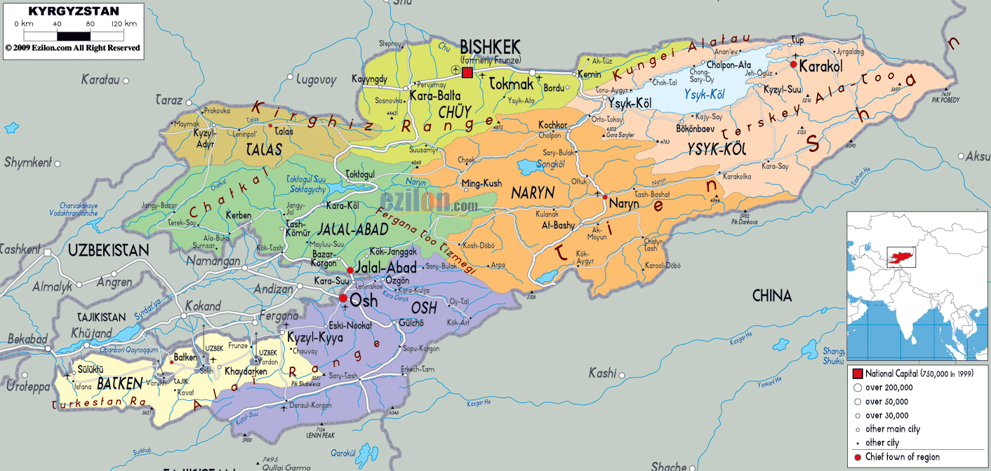 Large political and administrative map of Kyrgyzstan with roads ...