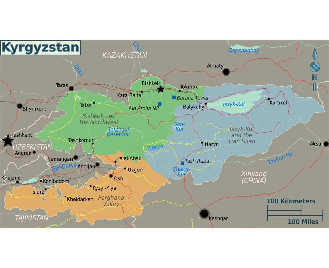 Maps of kyrgyzstan detailed map of kyrgyzstan in english tourist large regions map of kyrgyzstan gumiabroncs Choice Image
