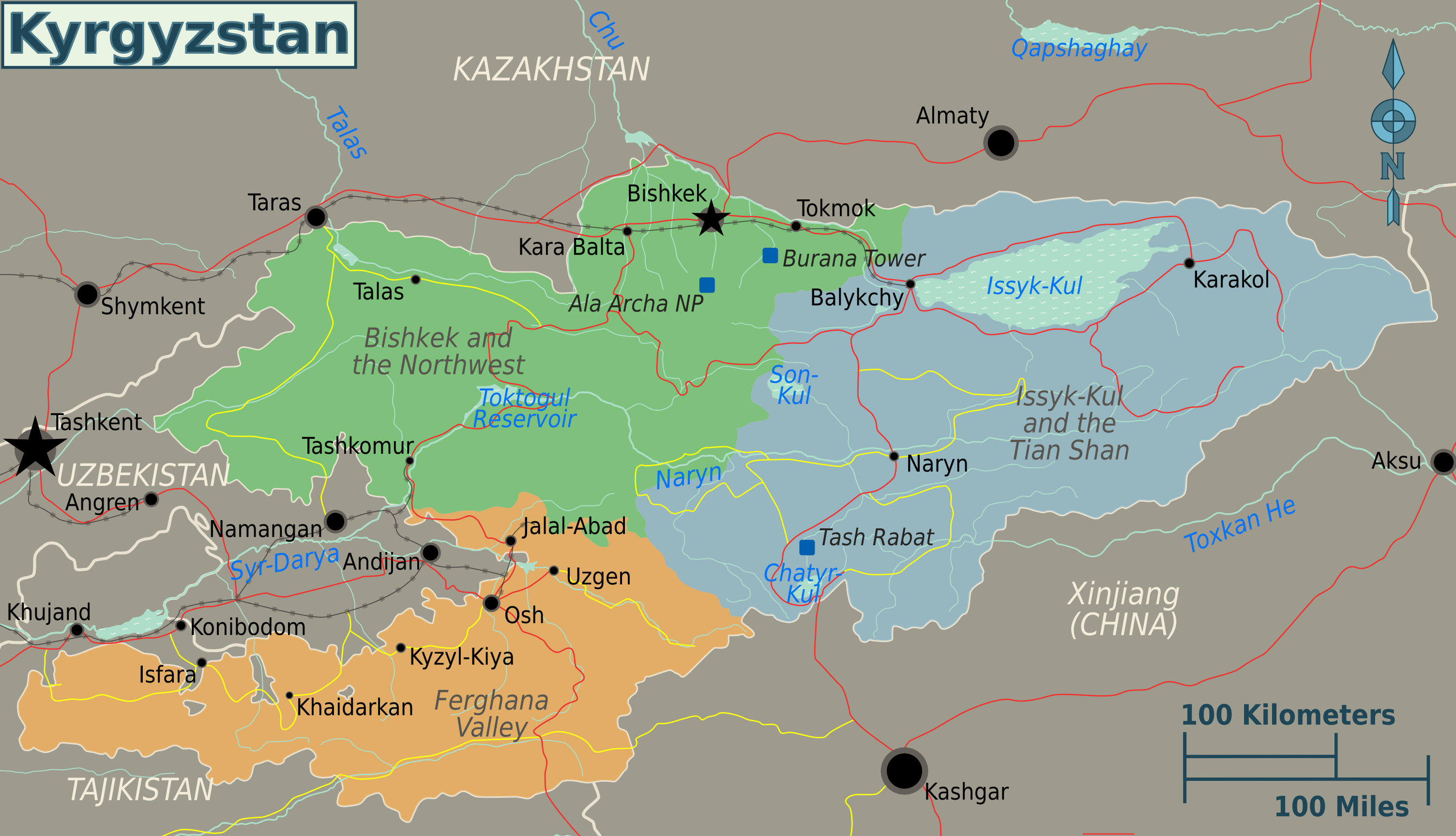 Large regions map of kyrgyzstan kyrgyzstan asia mapsland large regions map of kyrgyzstan gumiabroncs Images