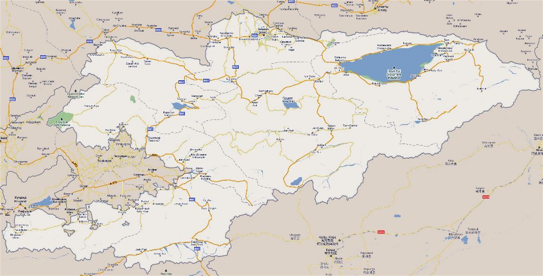 Large road map of Kyrgyzstan with cities