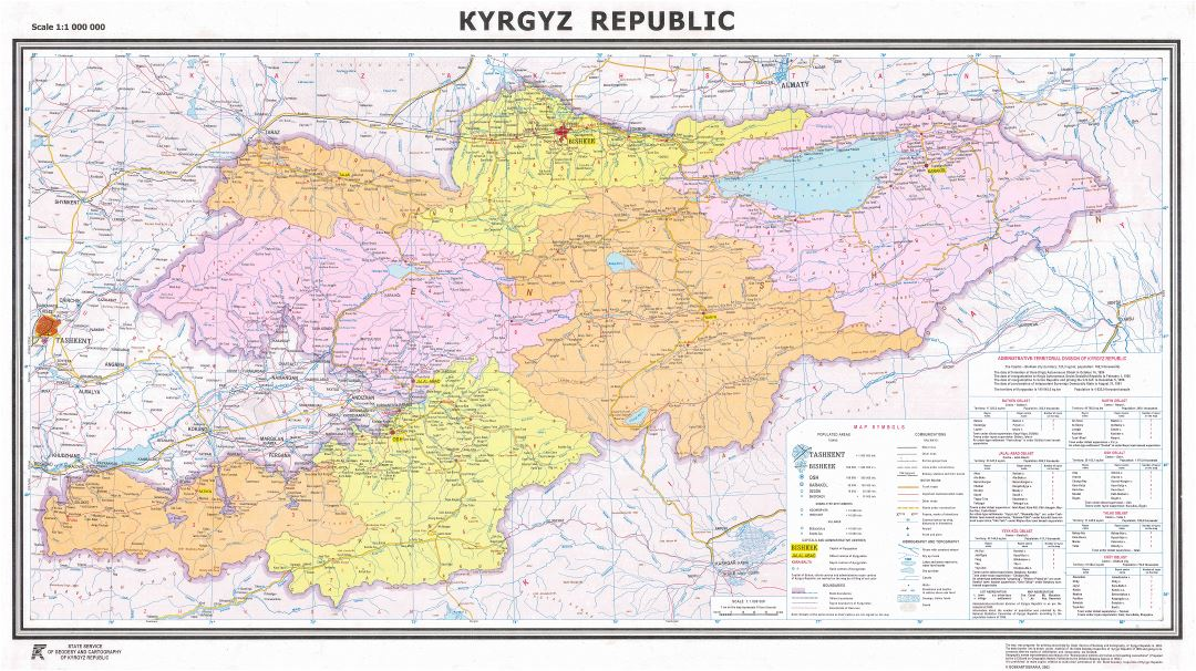 Large scale detailed political and administrative map of Kyrgyzstan with all marks