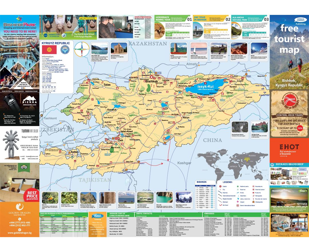 Maps of Kyrgyzstan Detailed map of Kyrgyzstan in English Tourist