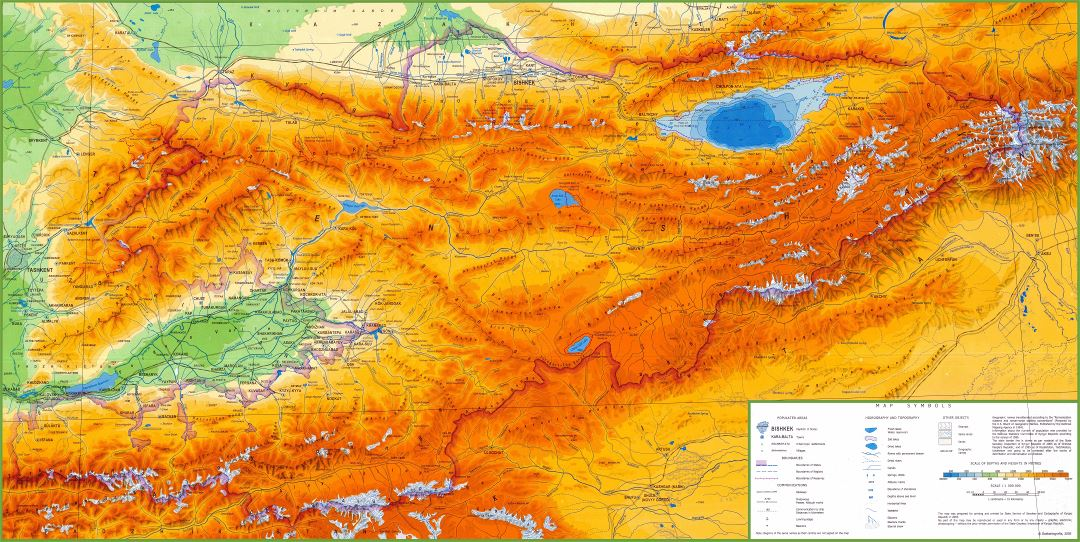 Large scale physical map of Kyrgyzstan with other marks