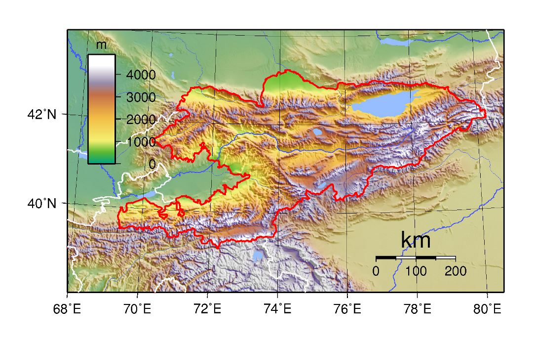 Large topographical map of Kyrgyzstan