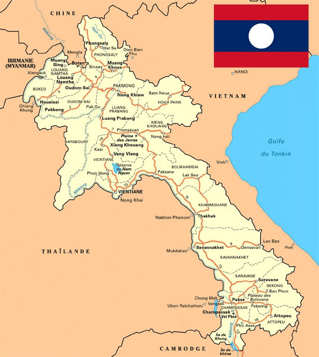 Map Of Laos Detailed map of Laos with roads, cities and other marks | Laos  Map Of Laos