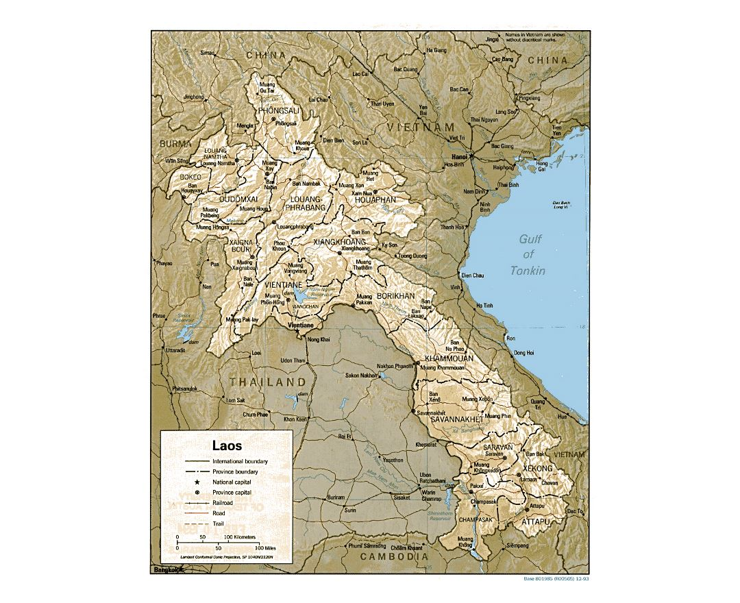 Detailed political and administrative map of Laos with relief, roads, railroads and major cities - 1993