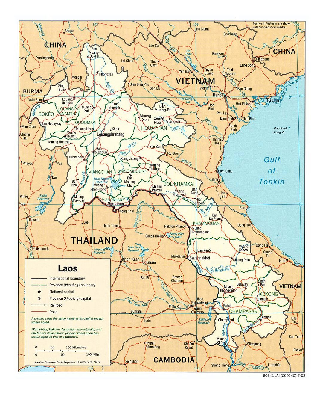 Detailed political and administrative map of Laos with roads, railroads and major cities - 2003