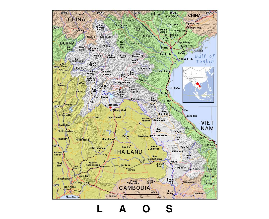 Detailed political map of Laos with relief