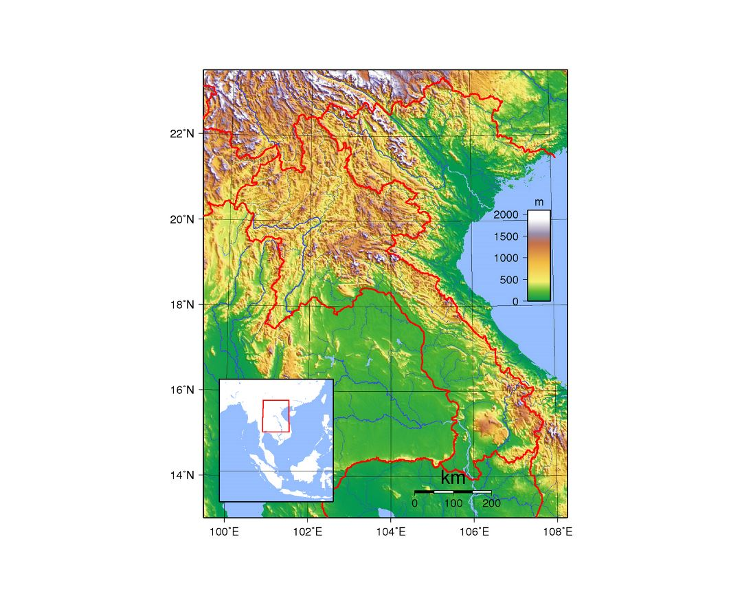 Detailed topographical map of Laos