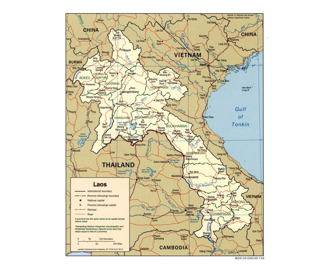 Large detailed political and administrative map of Laos with roads, railroads and major cities - 2003