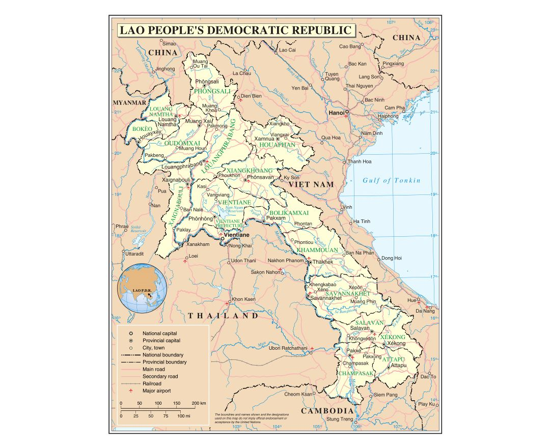 Large detailed political and administrative map of Laos with roads, railroads, cities and airports