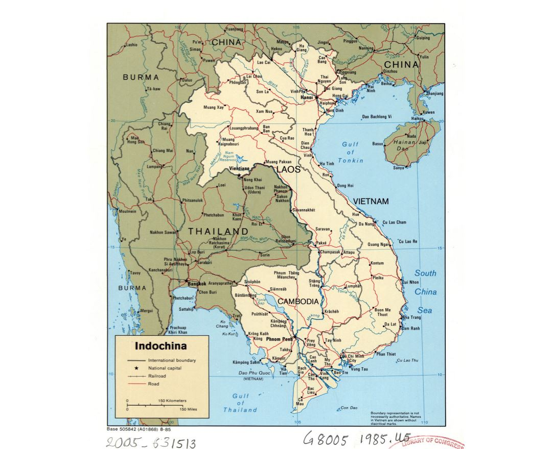 Large detailed political map of Indochina with roads, railroads and major cities - 1985