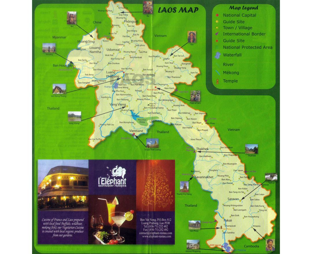 Maps of Laos Detailed map of Laos in English Tourist map travel