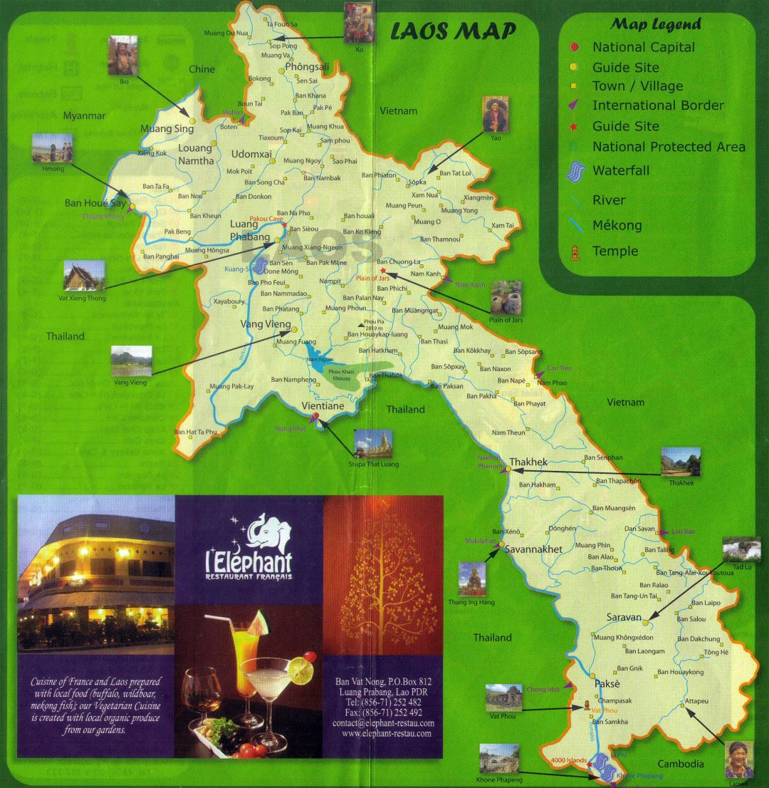 Large detailed tourist map of Laos
