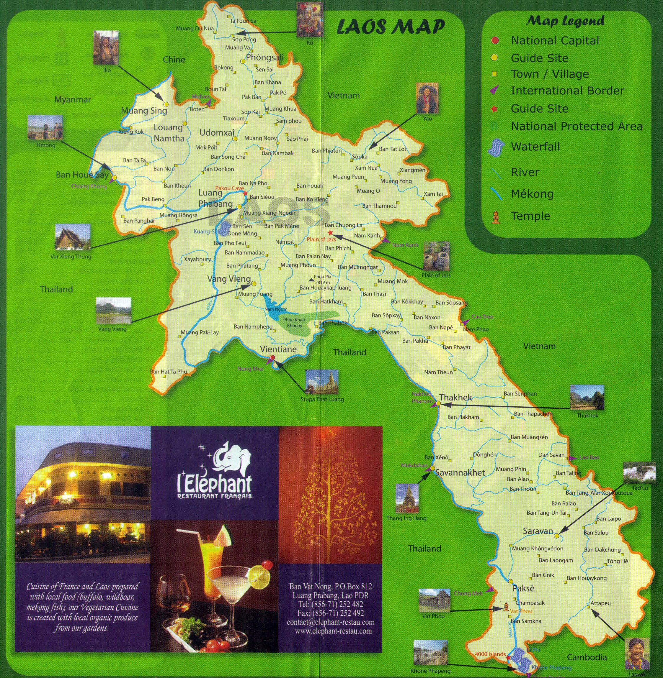 Large detailed tourist map of Laos Laos Asia Mapsland Maps