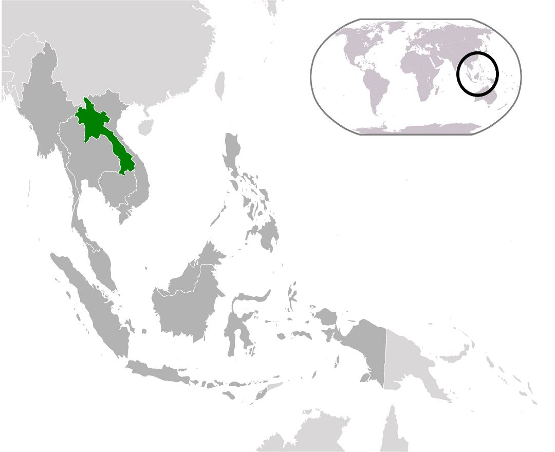 Large location map of Laos