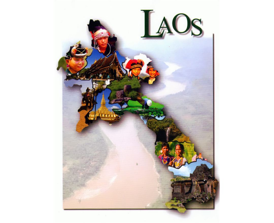 Large post card map of Laos