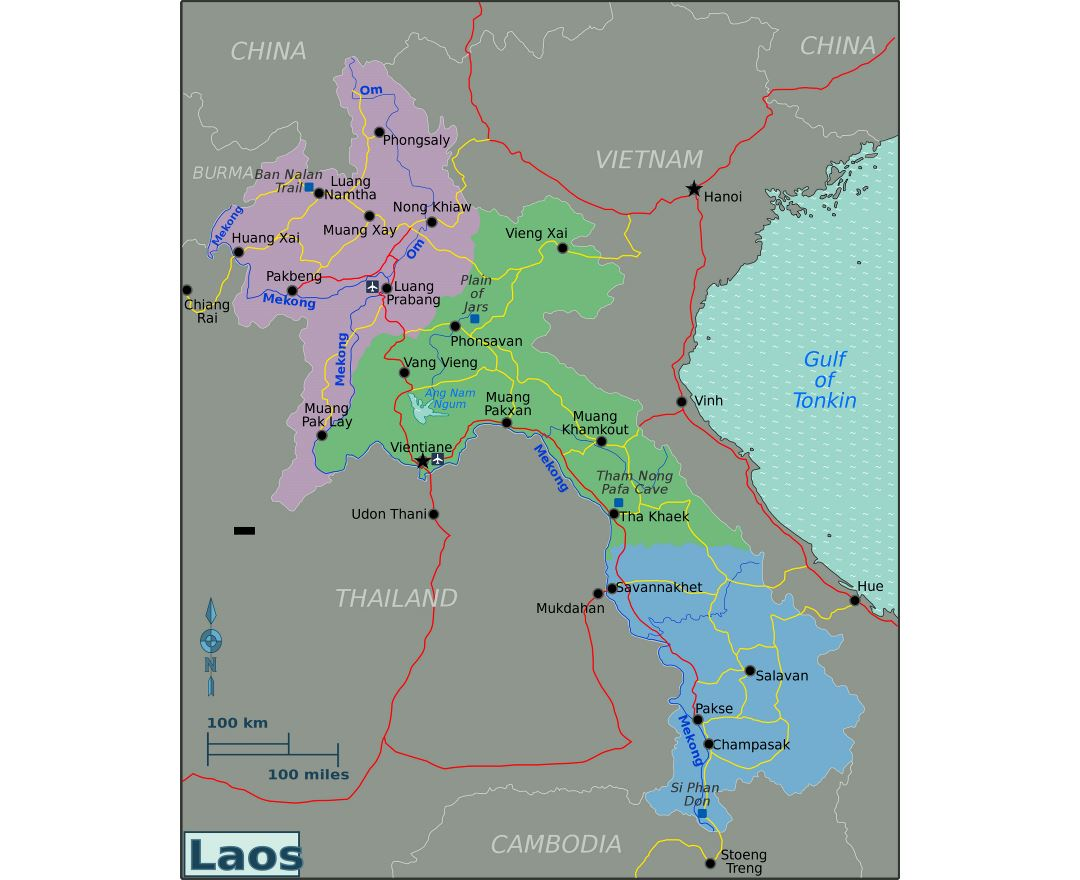 Large regions map of Laos