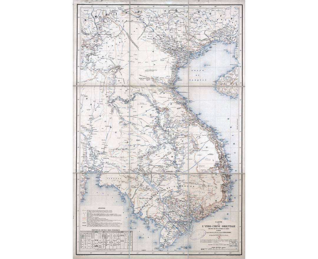 Large scale detailed old map of Indochina with relief and other marks - 1881