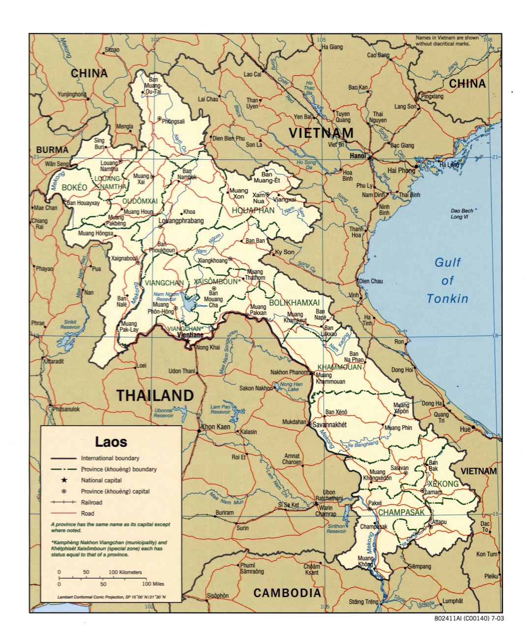 Large scale political and administrative map of Laos with roads, railroads and major cities - 2003