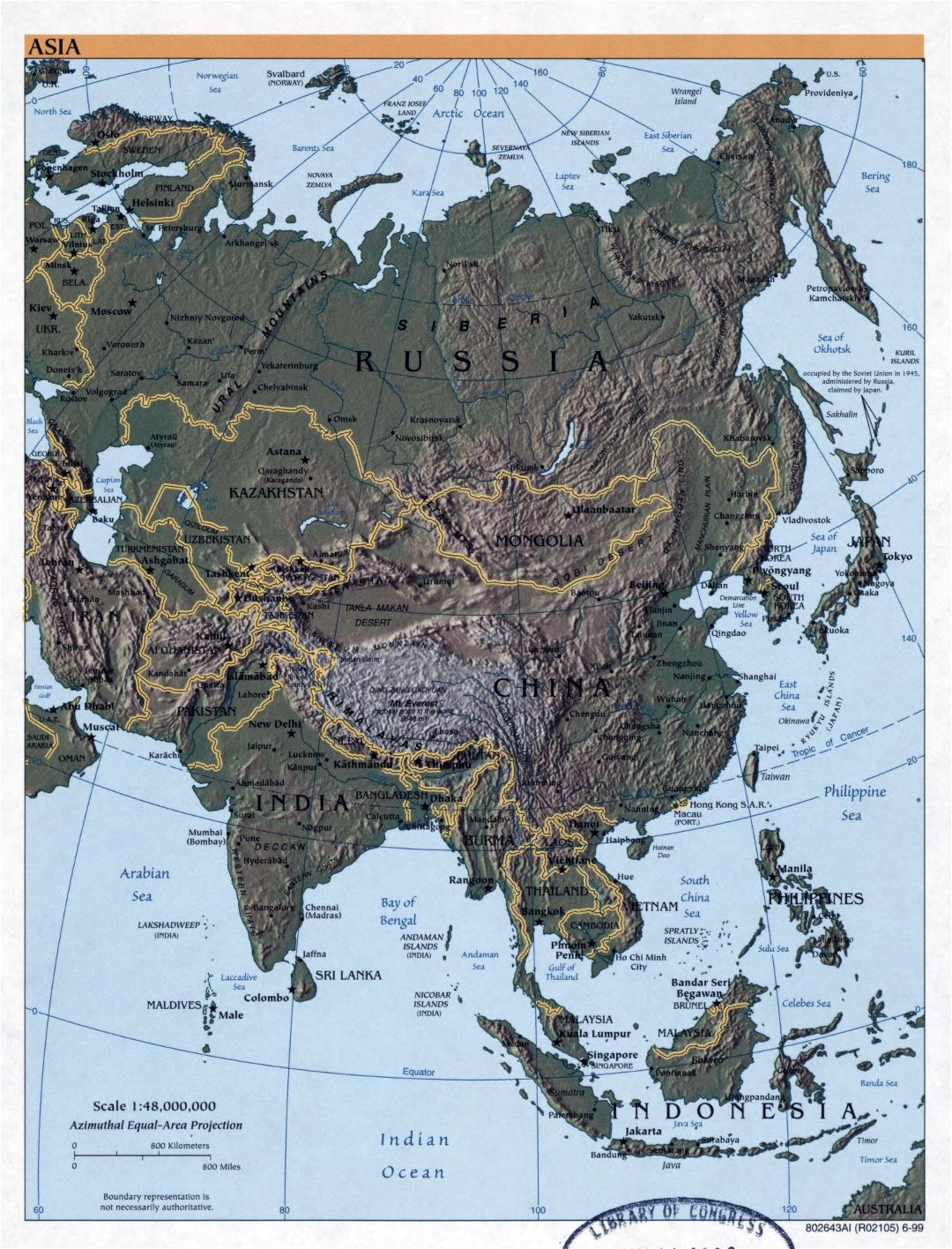 Large detailed political map of Asia with relief and capitals - 1999