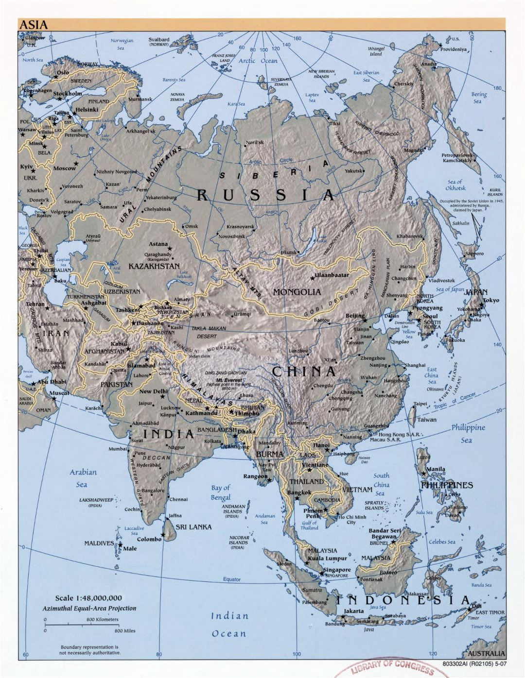 Large detailed political map of Asia with relief, major cities and capitals - 2007