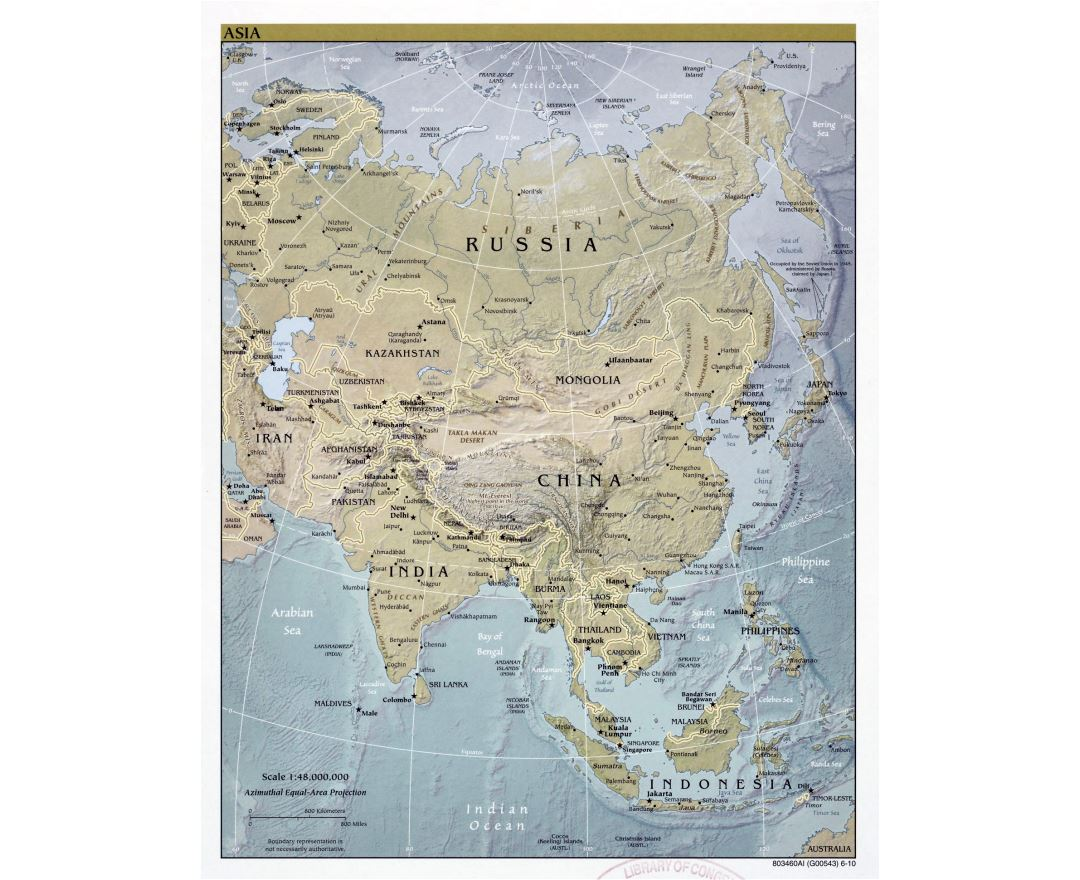 Large detailed political map of Asia with relief, major cities and capitals - 2010