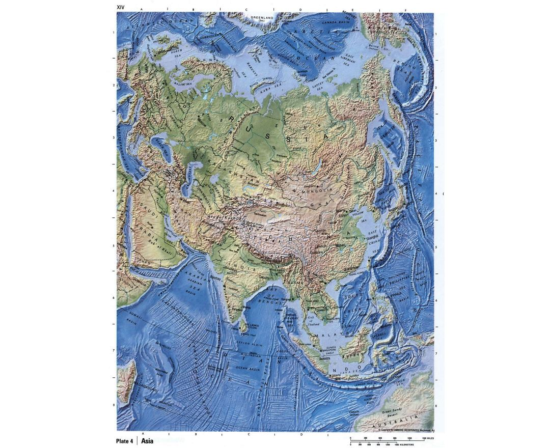 Large detailed relief map of Asia