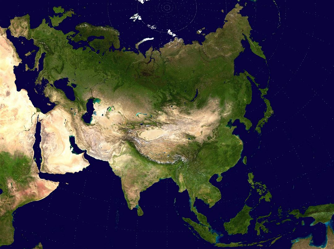 Large detailed satellite map of Asia