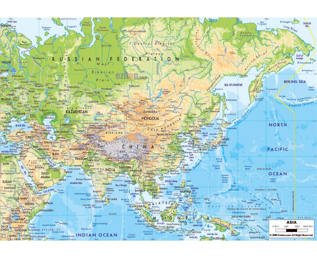 large physical map of asia with major roads and major cities