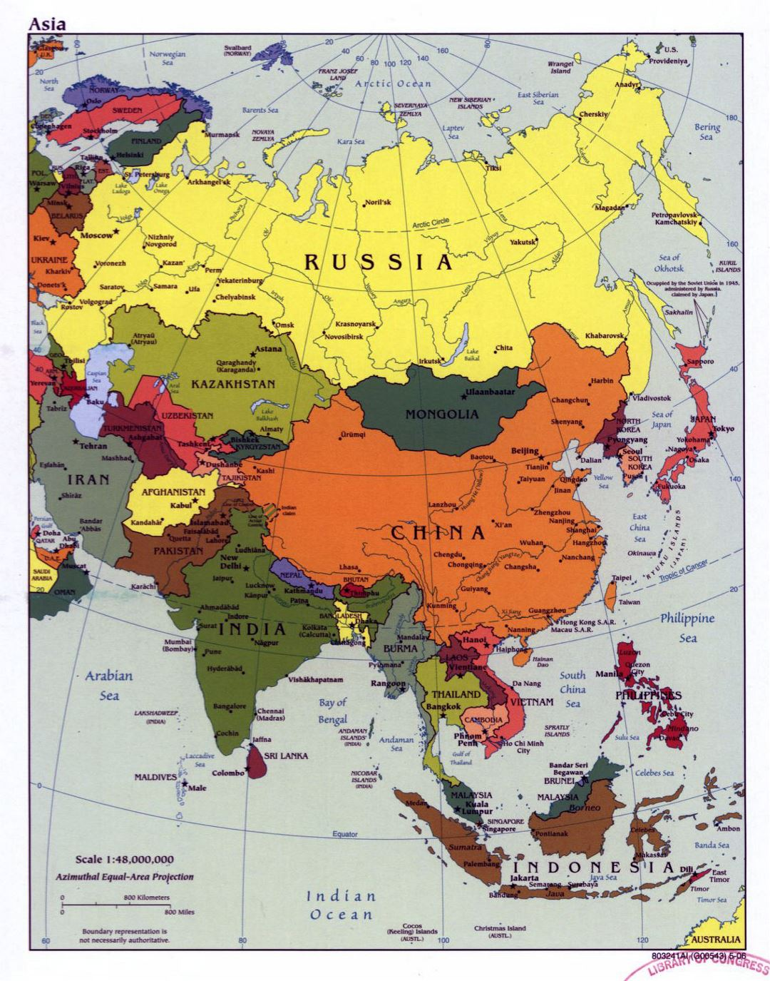 Large political map of Asia with major cities and capitals - 2006