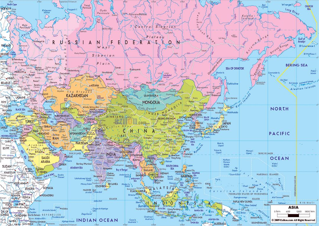 Large political map of Asia with major roads and major cities