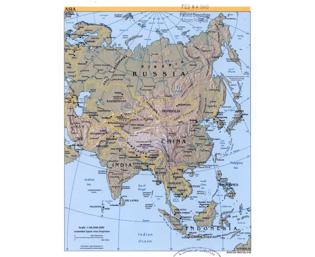 Large political map of Asia with relief, major cities and capitals - 2002