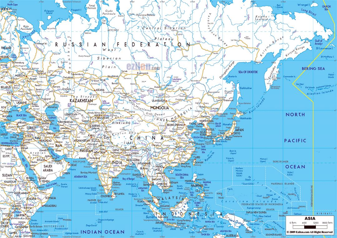 Large road map of Asia with major cities
