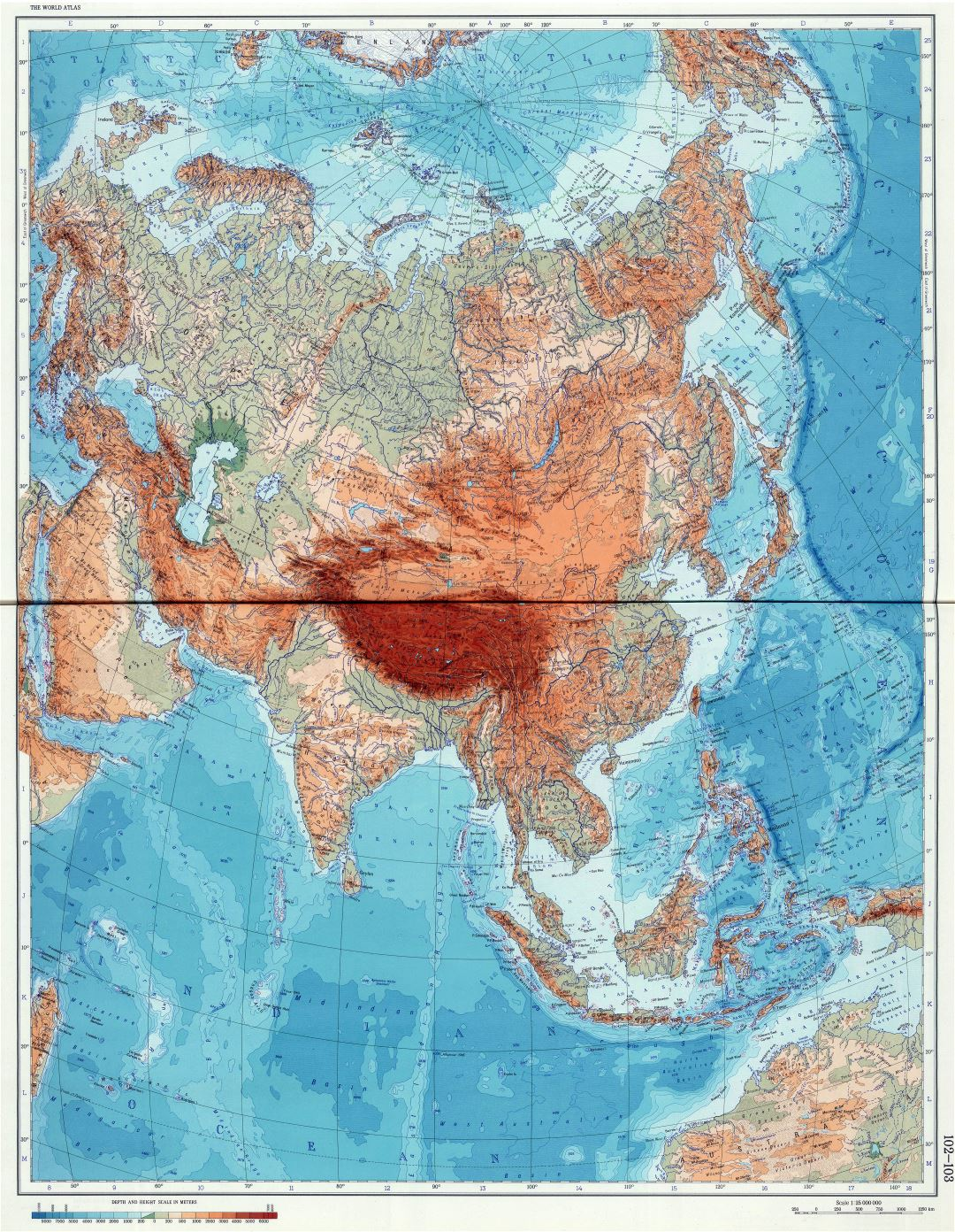 Large scale detailed physical (geographical) map of Eurasia