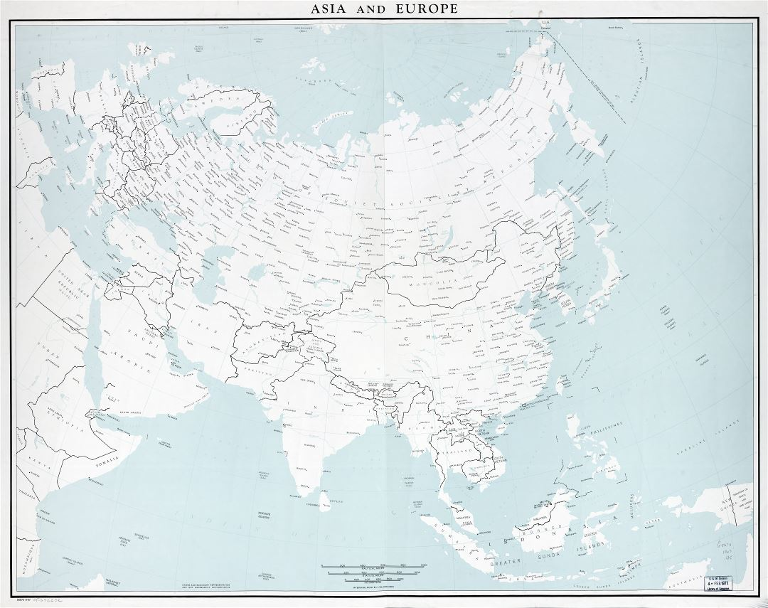Large scale detailed political map of Asia and Europe with major cities - 1967