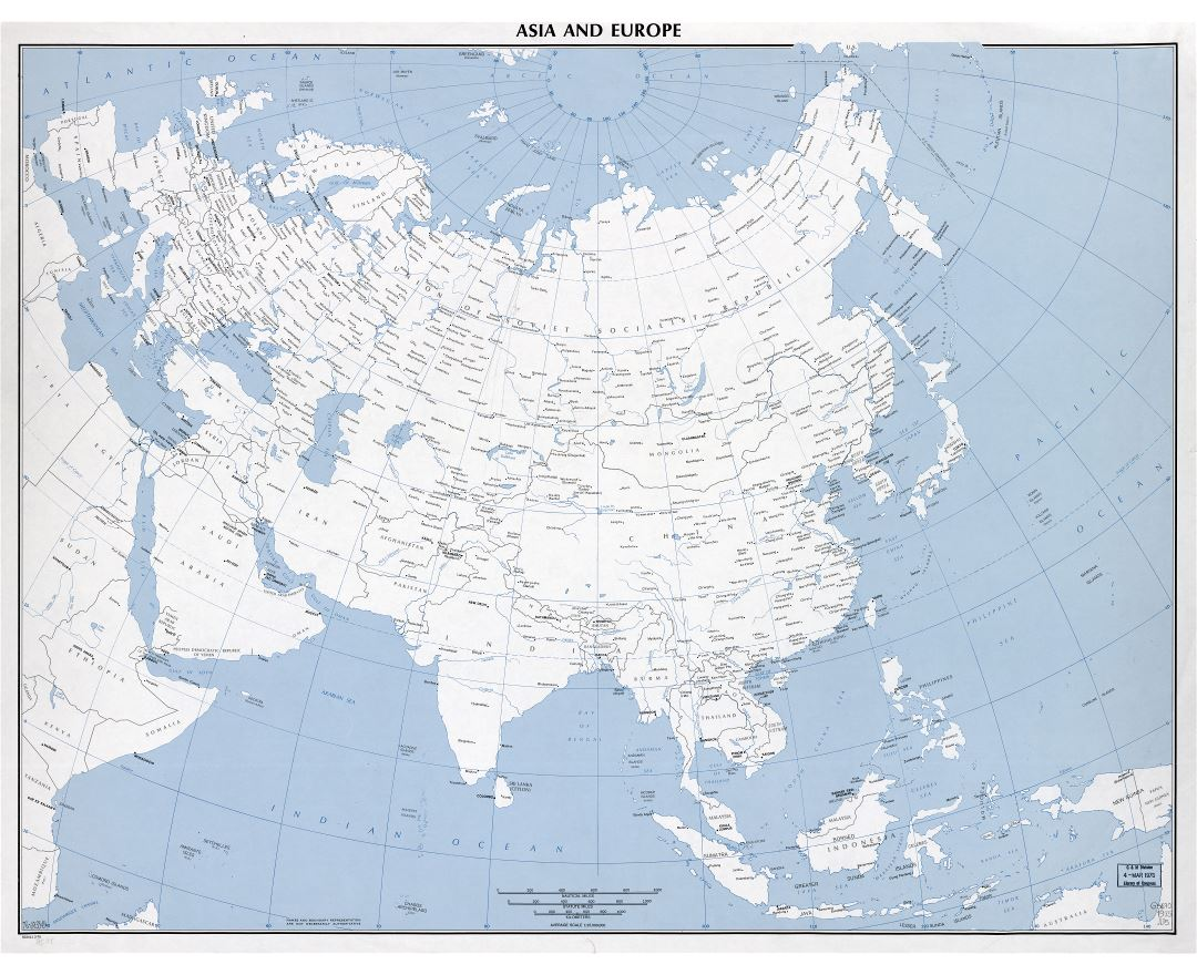 large scale detailed political map of asia and europe with major cities 1975