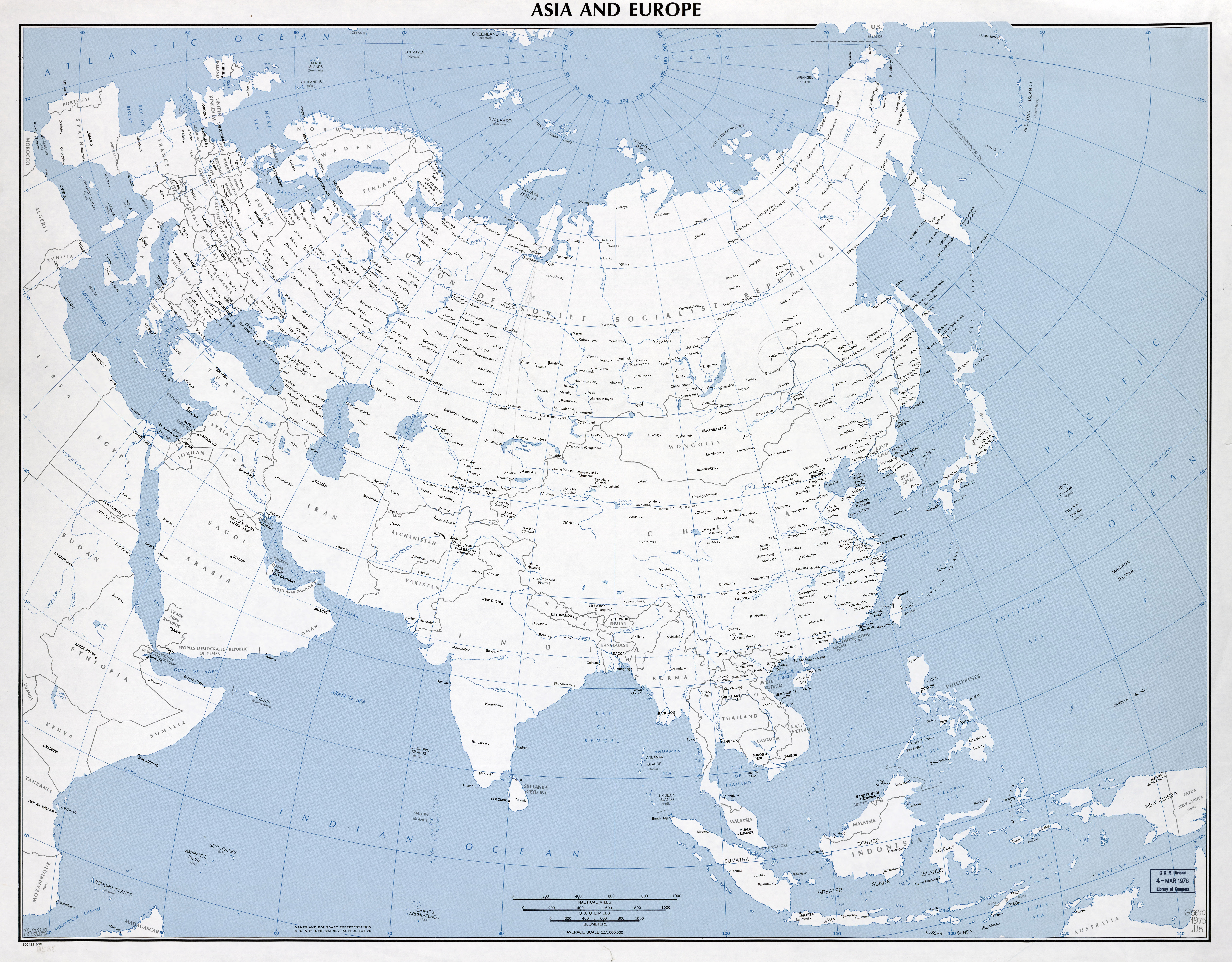 Large Scale Detailed Political Map Of Asia And Europe With Major